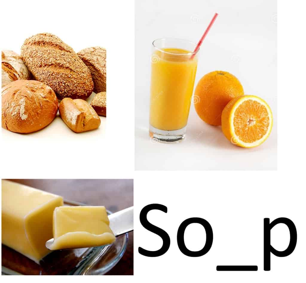 Three various food items In the top right there is many loafs of bread, in the top right there is orange juice in a glass with a straw, in the bottom left there is a butter knife with butter on it, and in the bottom right there is the letters