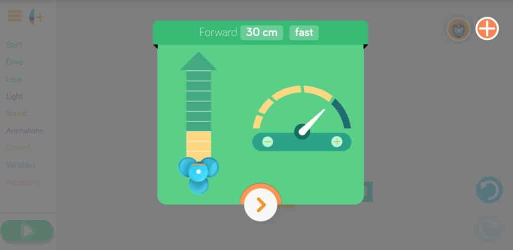 An interface showing the speed and distance adjustments that can be set in the Blockly app.