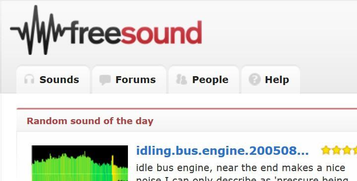 Freesound website homepage screenshot