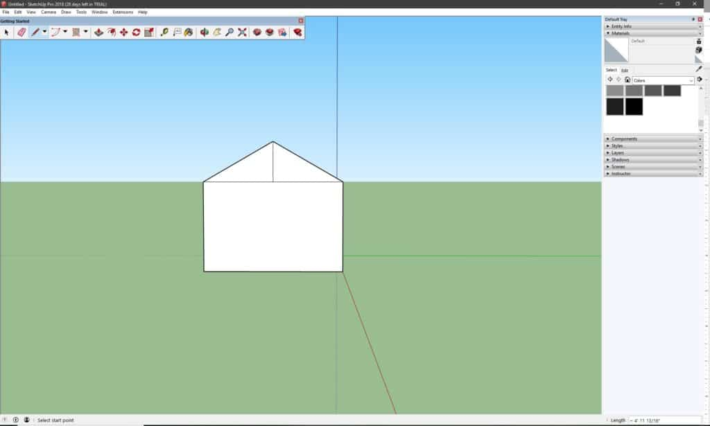 Process work of the house creation in SketchUp.