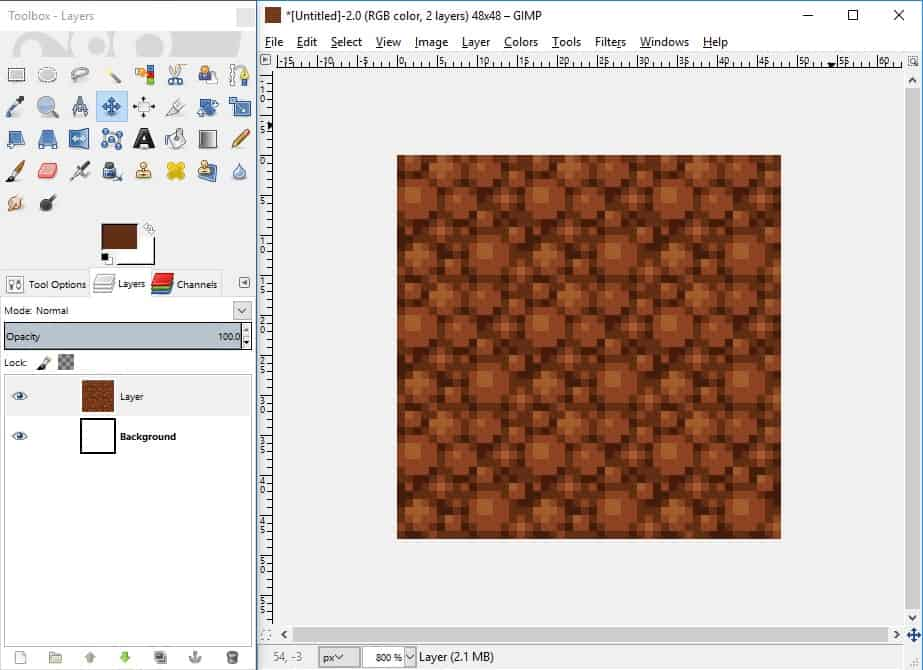 GIMP screenshot of the completed tile with shadows and highlights