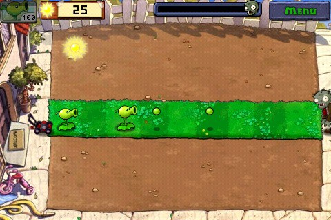 Plants Vs Zombies game interface demonstrating different results based on where the peashooter is placed in the row
