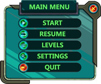 Main Menu showing familiar icons for each option