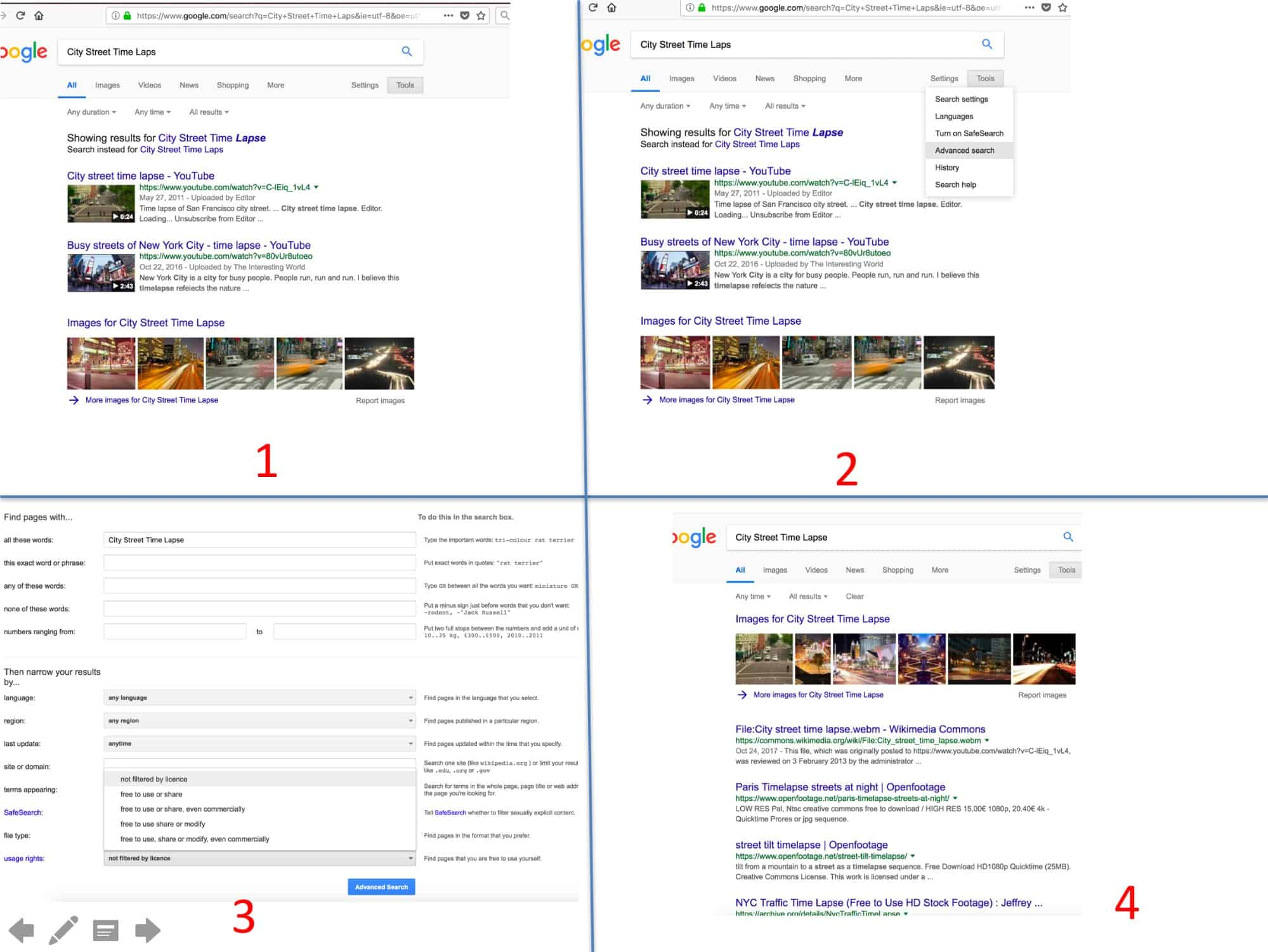 Different Google search results based on Advanced Search settings