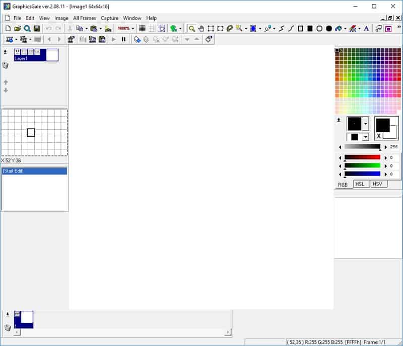A new blank canvas in GraphicsGale
