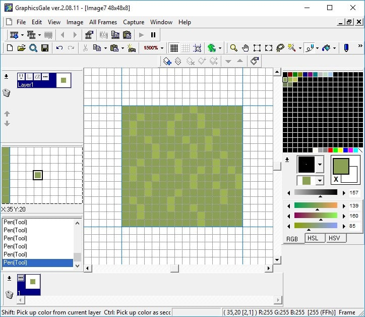 Lighter green colour used to create grass shapes with the pencil tool