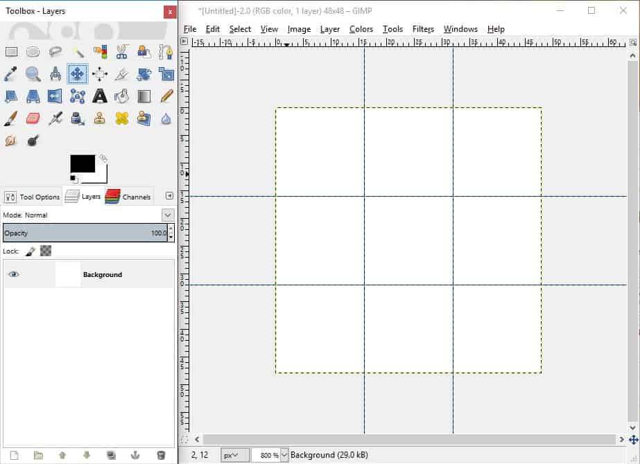 GIMP screenshot with vertical and horizontal guides added to canvas