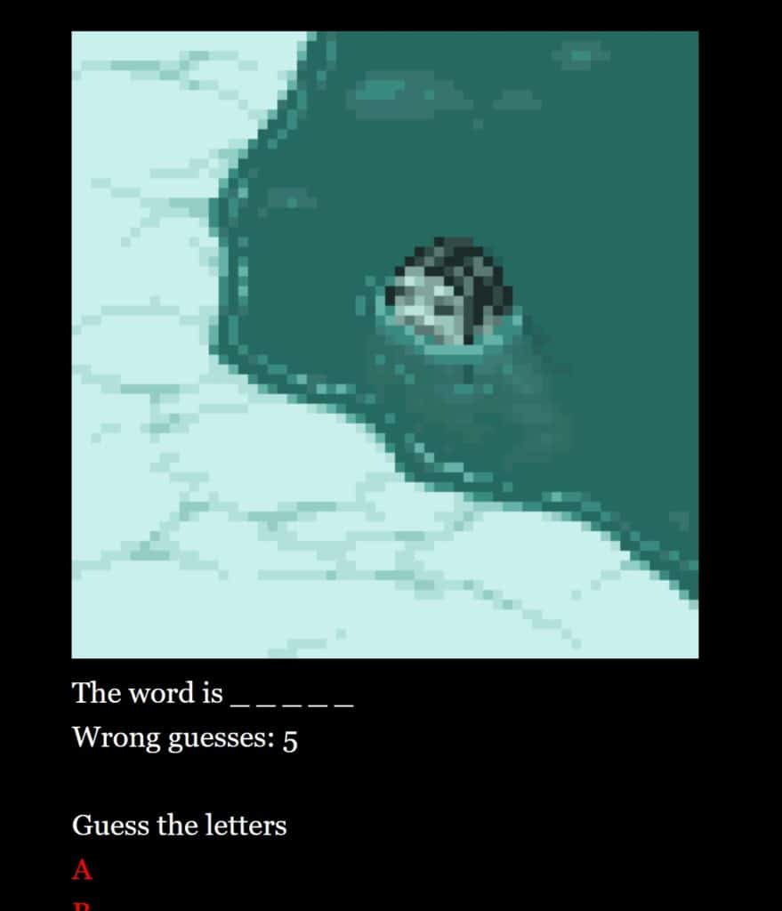 The Word Monster game showing a monster from an Inuit myth and blank spaces for the mystery word below