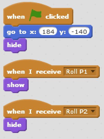 Scratch code blocks that show and hide the Player 1 roll button.