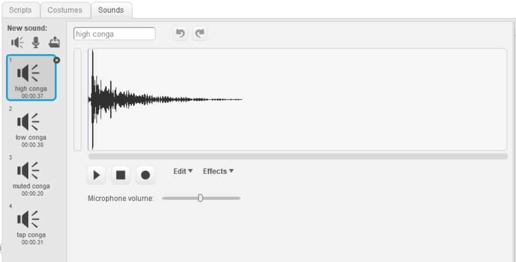 The sound tab with the high conga sound file loaded.