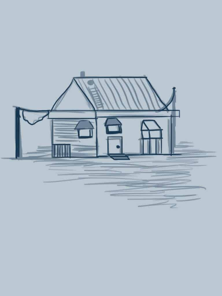 A sketch of a house.