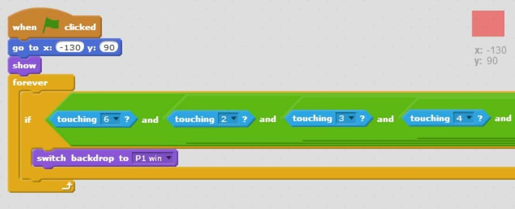 Scratch code blocks setting the starting location and show, and also adding an if loop with and operators within and operators.