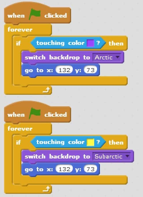 A code block that changes the location of your turtle so it is out of the way of the information being displayed