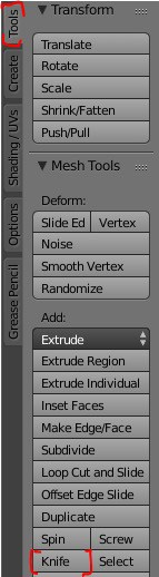 The knife tool menu item highlighted in the Blender interface.