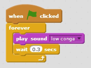 Code blocks that will play the low conga sound, wait 0.3 seconds and do this forever when the flag is clicked.