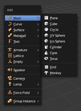 The mesh menu in Blender.