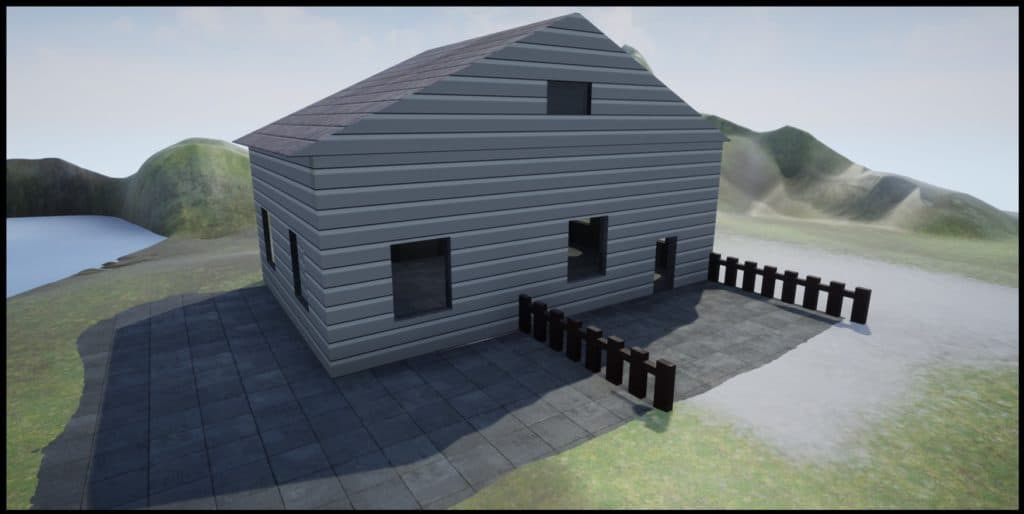 A grey house and dark brown fence built on Unreal