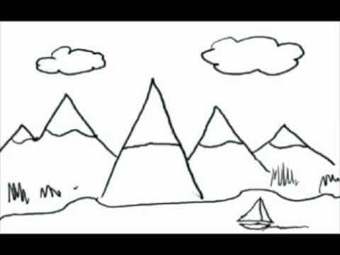 "A drawing of mountains that has been formed from upside down ""V's"""
