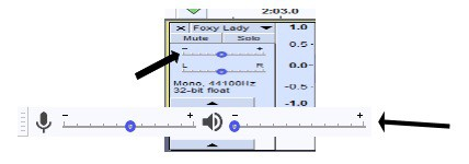 The gain being adjusted in Audacity