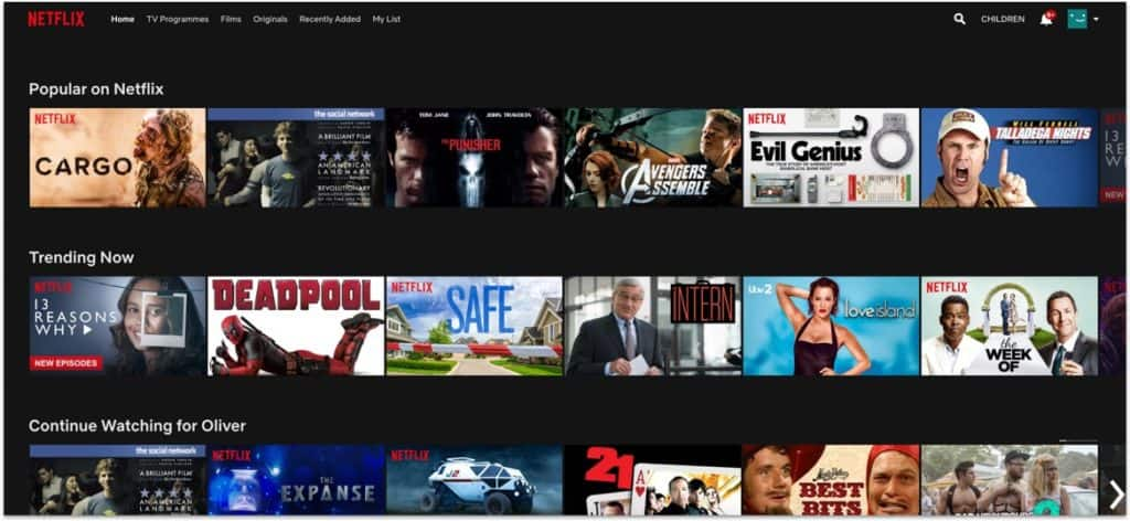 Various category lists of movies on the homepage of the Netflix website