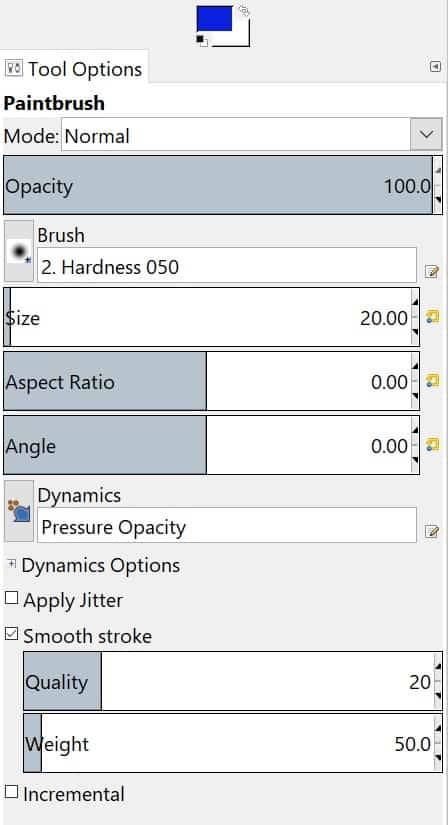 This is the tool options menu found in the toolbox. The opacity, size, weight and more can be adjusted using a slide bar and other functions can be turned on or off.