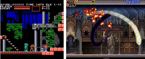 Side-Scroller perspective of Castlevania series from NES version and Nintendo DS version