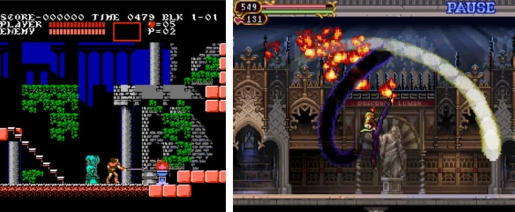 Konami's Castlevania series from Nintendo displaying a Side-Scroller example