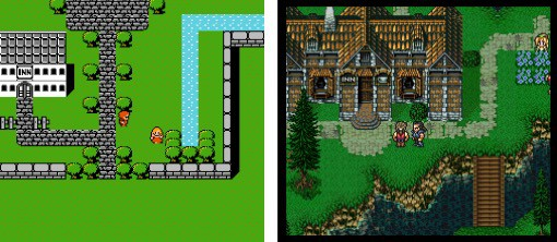 Top-Down perspective for Final Fantasy for NES and  Final Fantasy III for SNES