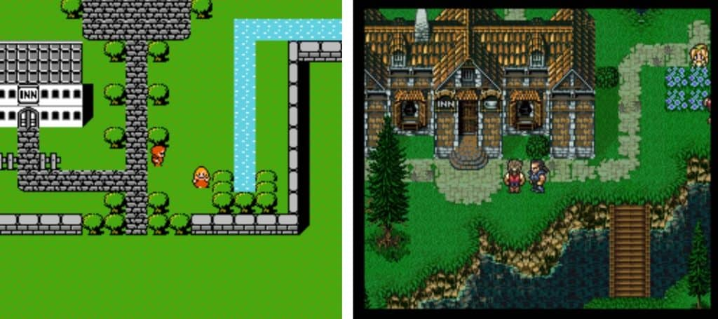Final Fantasy series from Nintendo displaying a Top-Down example