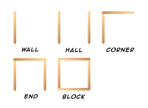 Permutation pieces (wall, hall, corner, end, and block) made out of popsicle sticks.