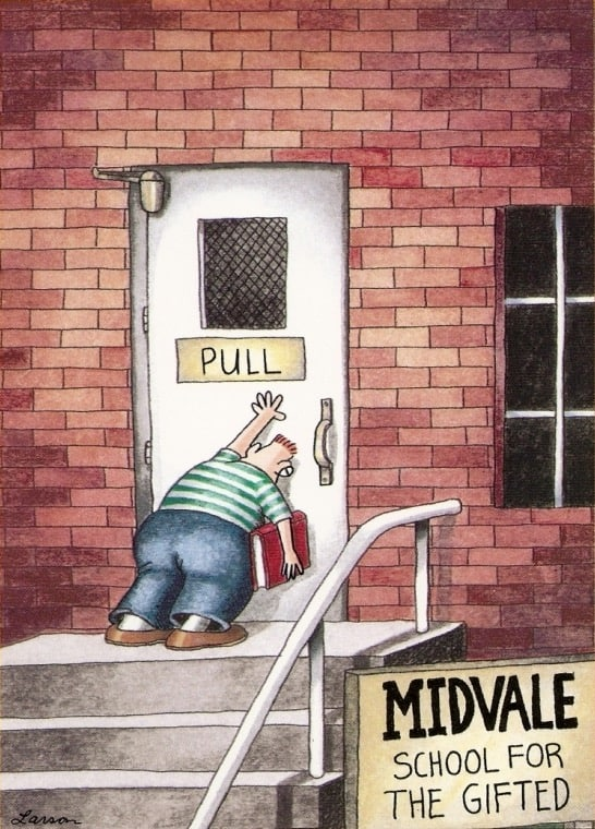 An comic of a person leaning up against a door that has the sign