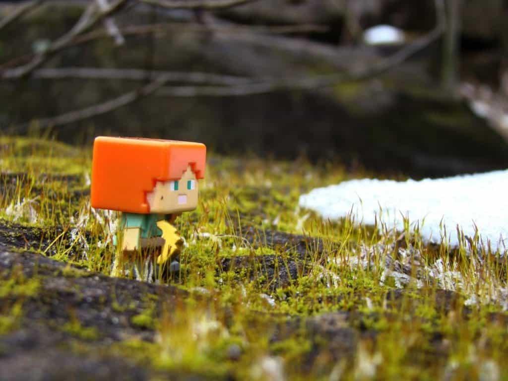 Minecraft character walking.