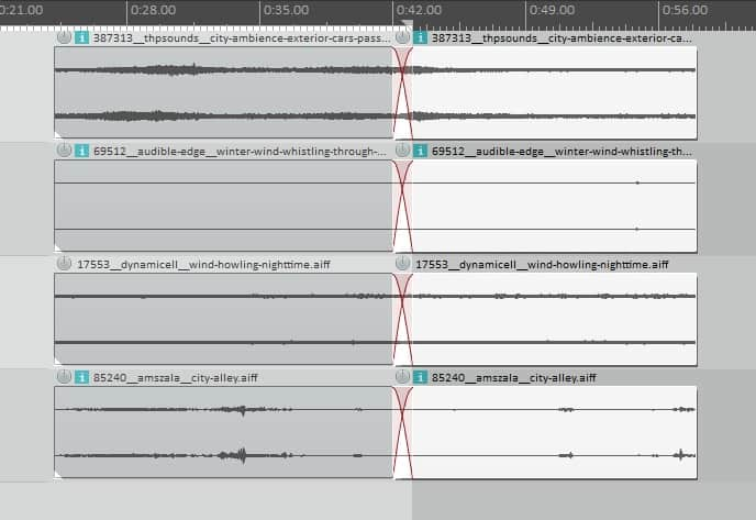 Tracks cut in half after playhead was positioned in the middle of the tracks and the command split items at cursor was executed