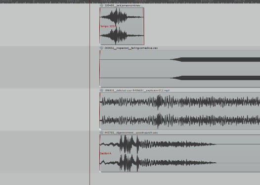 Four sounds on their own tracks starting at the same time