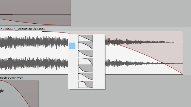 Track with fade setting added to fade out sound