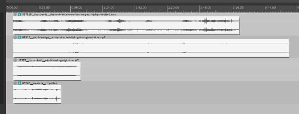 Ambiance sounds imported into Reaper on separate tracks