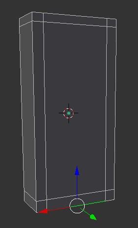 A rectangle outline in Blender.