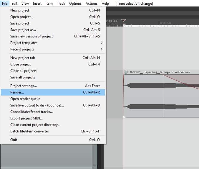 Render to file settings window