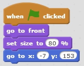 Using the when key pressed block with the change x by block to make the sprite move when one of the four arrow keys is pressed.