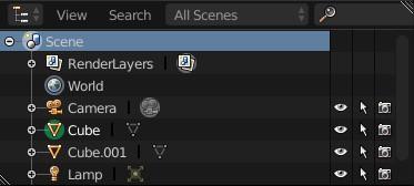 The scene tab in Blender.