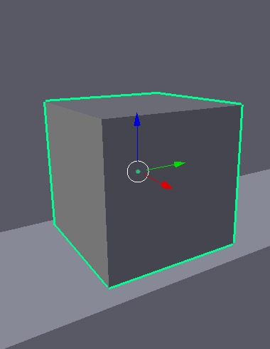 A selected cube in Blender.