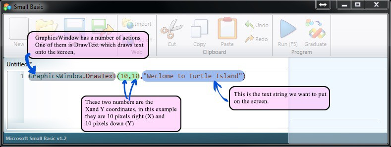 """GraphicsWindow after running the Turtle Island program which displays the """"Welcome to Turtle Island"""" message."""