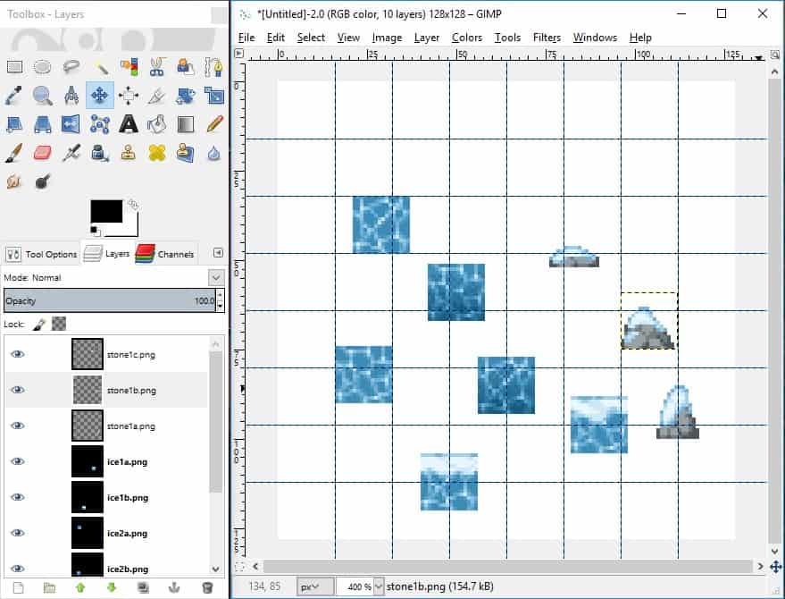 GIMP screenshot of all tiles created added to canvas