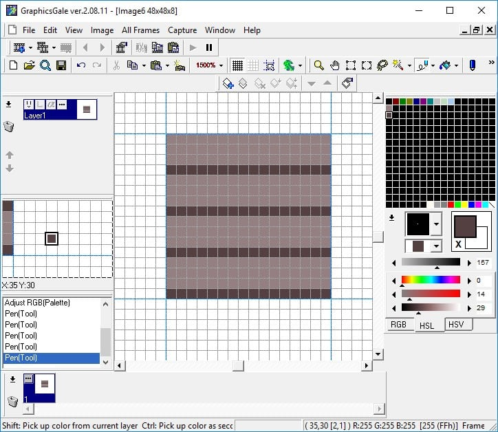 Four horizontal lines added to canvas using a darker shade of the background fill colour