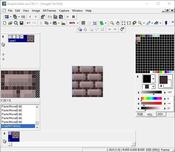 16x16 base tile selected using the Rectangular Selection tool and then cropped
