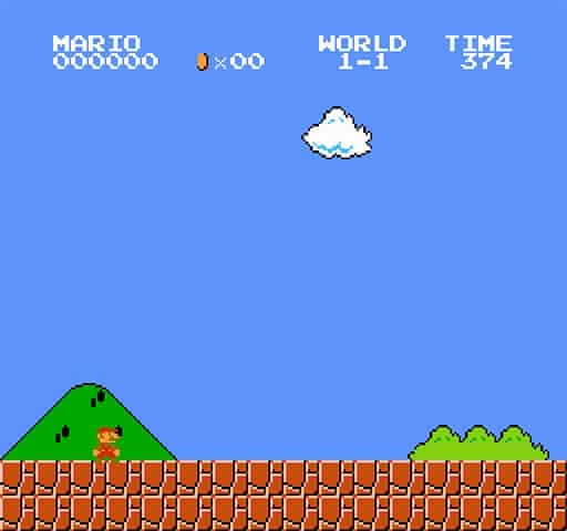 The first screen of game of play on Super Mario Bros