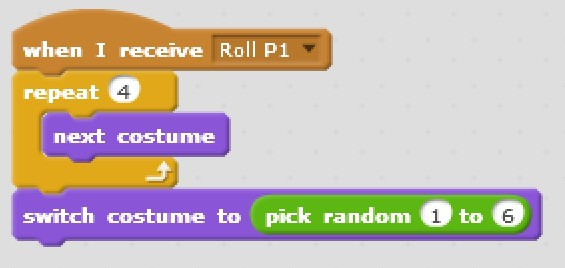 Scratch code blocks that gives the illusion the dice is rolling and selects a random costume to display.