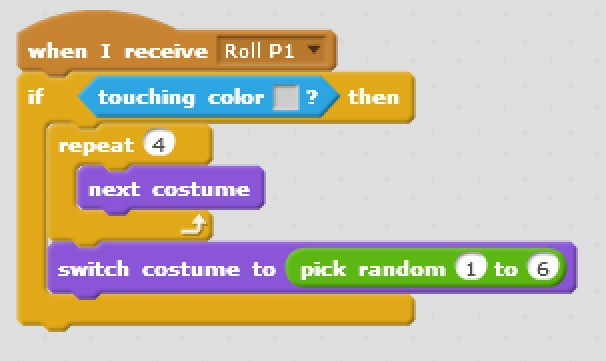 Scratch code blocks that prevents the dice from being rolled while they are in the holding area.