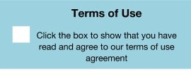 A checkbox confirming Terms of Use have been read and agreed to