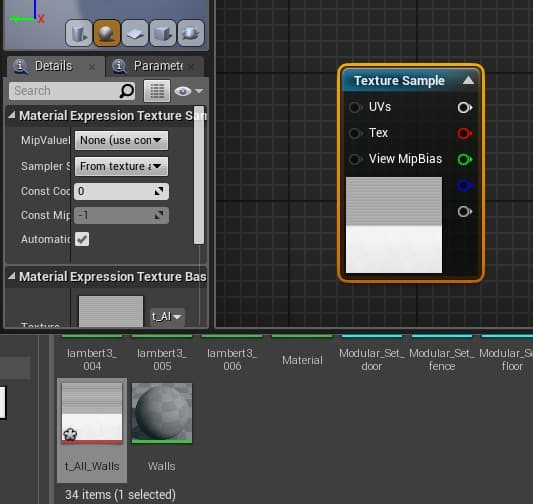 Small top node of Texture Sample being dragged to Base Color option.